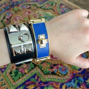 Blue leather W/ gold tone buckle CC Skye bracelet